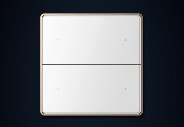 二位四键-瓷白色(玻璃)