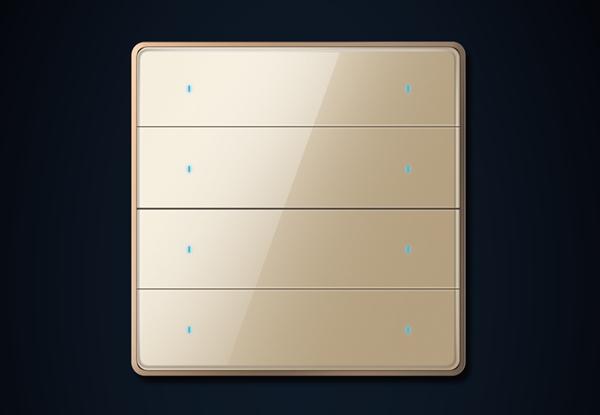 四位八键-金色(玻璃)